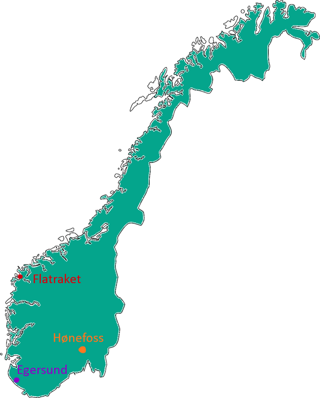 Map of Norway, including the places I have lived.