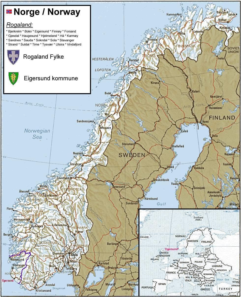 Kart over egersund
