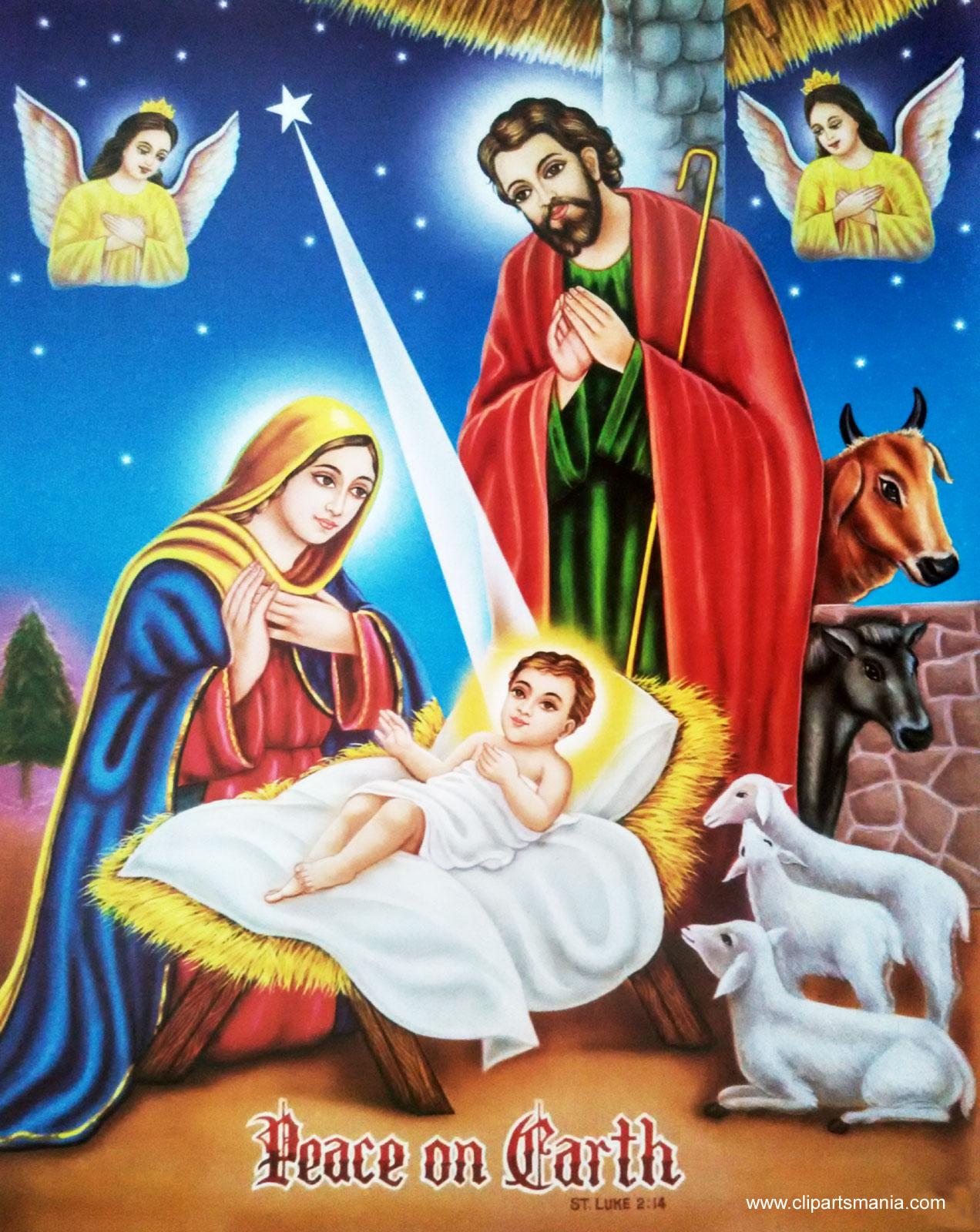 Jesus, Maria og Josef i Betlehem