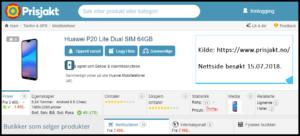 Prisjakt: Huawei P20 Lite