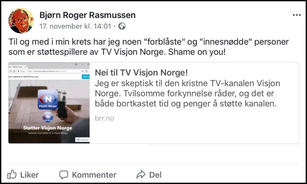 Nei til TV Visjon Norge-støttespillere