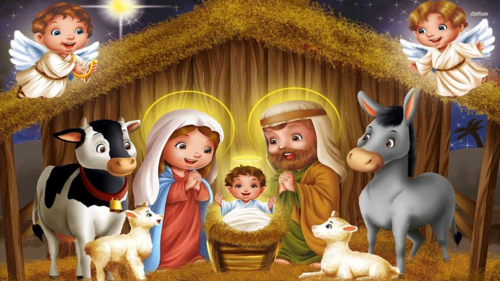 Stallen i Betlehem og Jesusbarnet, tegneserieversjon. Kilde: www.desktopwallpapers4.me
