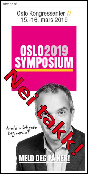 Oslo Symposium 2019: Nei takk!