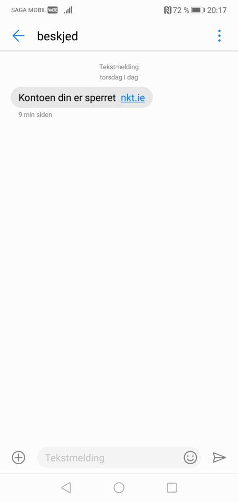 SMS: Kontoen din er sperret nkt.ie